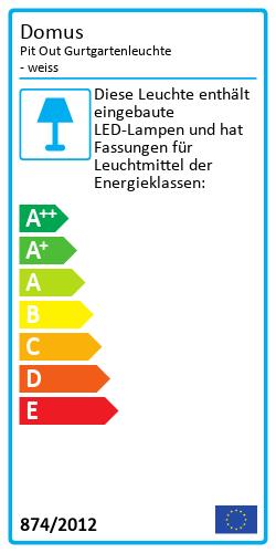 Pit Out Gurtgartenleuchte - weissEnergielabel