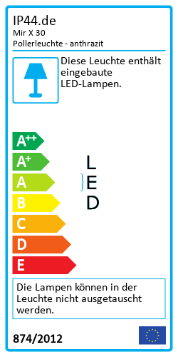 Mir X 30 PollerleuchteEnergy Label